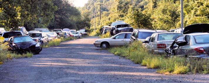 View of Altieri's Auto Inc. yard off of Erie Street