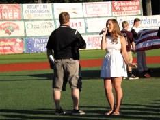 Lauren Simmonds singing the National Anthem