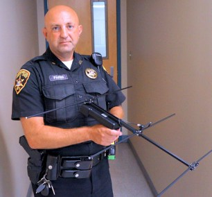 Deputy Joseph Parisi with Project Lifesaver handheld receiver