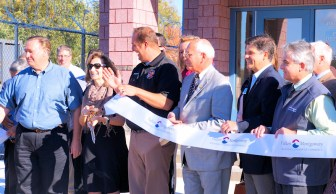 Officials cut the ribbon following a press conference at the county's new Public Safety complex