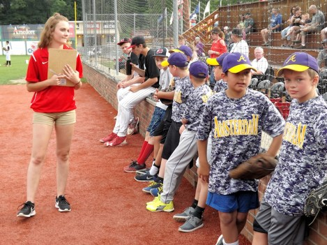 Jessica Gardinier with baseball buddies
