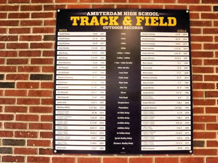 2016 track and field record board