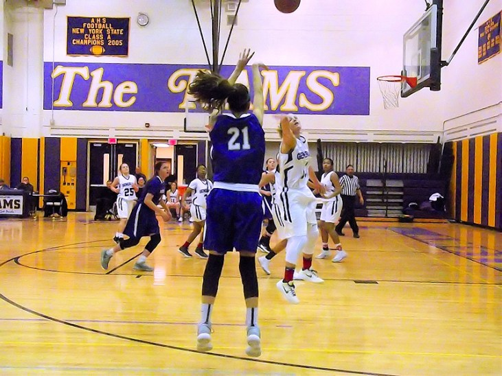 A three point shot by Antonia May ( it went in)