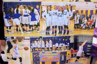 A photo montage on a towel the varsity girls received as a gift