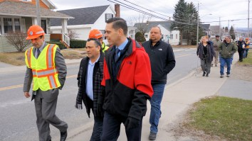Mayor Michael Villa, Assemblyman Angelo Santabarbara, Alderman Chad Majewski, and State Department of Transportation officials tour Church Street