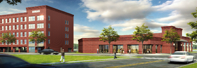 Architectural rendering of the standalone restaurant/banquet hall proposed to be built by KCG Development