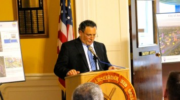 Mayor Michael Villa at the announcement of the DRI award