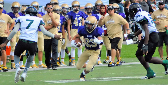 Peyton Ausfeld rushed for 168 yards and two touchdowns in Amsterdam's 27-12 victory over Green Tech on Homecoming Day Saturday, Sept. 29