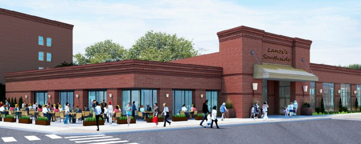 Artist rendering of the restaurant/banquet hall proposed to be part of KCG Development's project