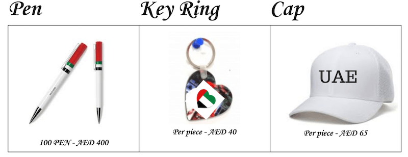 uae flag cap pen Key ring