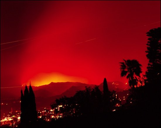 Connie Samaras, Griffith Park Fire, Los Angeles, 2007 from the series Surface Events, 1990 - Present. Courtesy of the artist and Armory Center for the Arts.