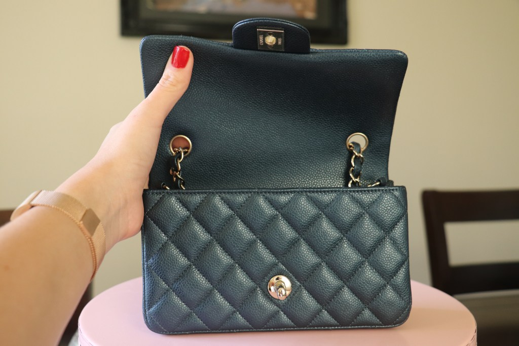 e26d766a22577c Meet my new baby! She is an iridescent blue with caviar leather and gold  hardware. My SA from Dallas sent me a text last week. This bag is  impossible to ...