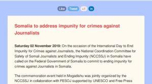 PRESS RELEASE Mogadishu,02 November 2019