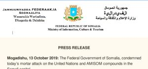 PRESS RELEASE Mogadishu, 13 October 2019
