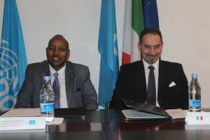 "Somalia signed as a ""witness"" to an agreement in which Italy will donate two million euros to the UN Multi-Partner Trust Fund"
