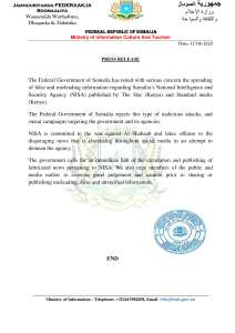 PRESS RELEASE Mogadishu, 17 April 2020
