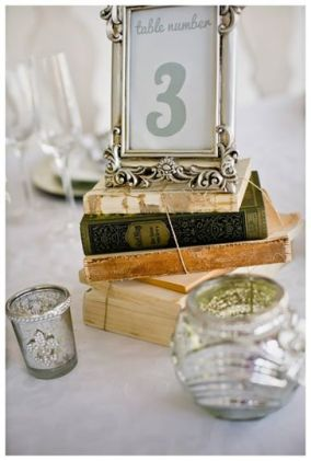 Bookstacks used to prop up table numbers