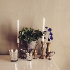 Some of our rental items that can be used to create a boho glam look: MD018a + b votives, MD031 wonky urn, MD043 brass candlesticks, MD0503a brass vessels and MD0503 metal odds & sods
