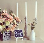 This evokes a country shabby chic feeling - our MD029 planters with MD007 chalkboard easel, MD044 candelabra and MD022a white glass bottles