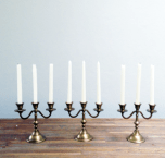 Brass 3 arm candelabras - 3 in stock. MD040 at R45 each