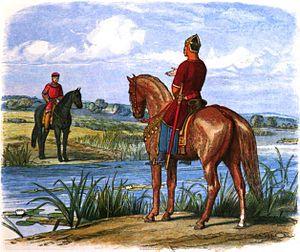 Tranh minh họa cảnh Henry II và Stephen thương thảo cách một bờ sông.