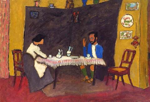 Gabriele Münter_Kandinsky und Erma Bossi am Tisch