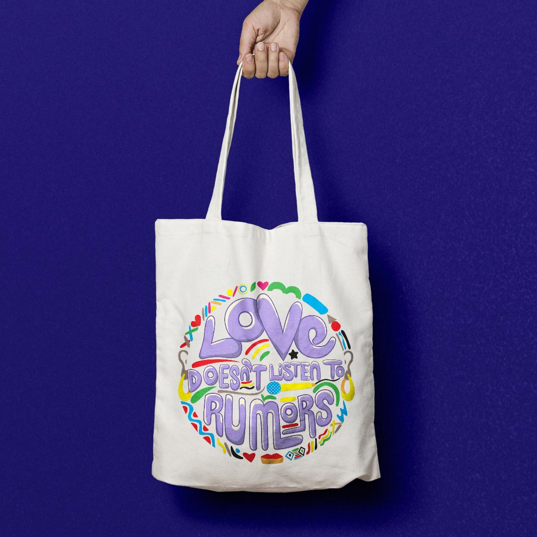canvas tote bag with love design