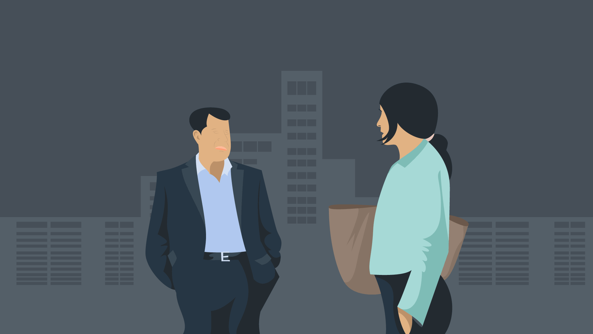A man and woman having a conversation on the stret