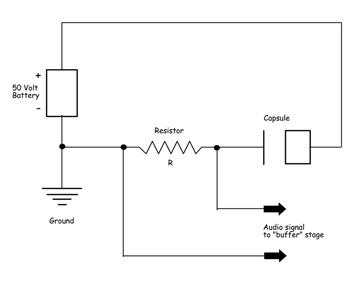 Condenser Microphone Schematic Diagram. Capacitor