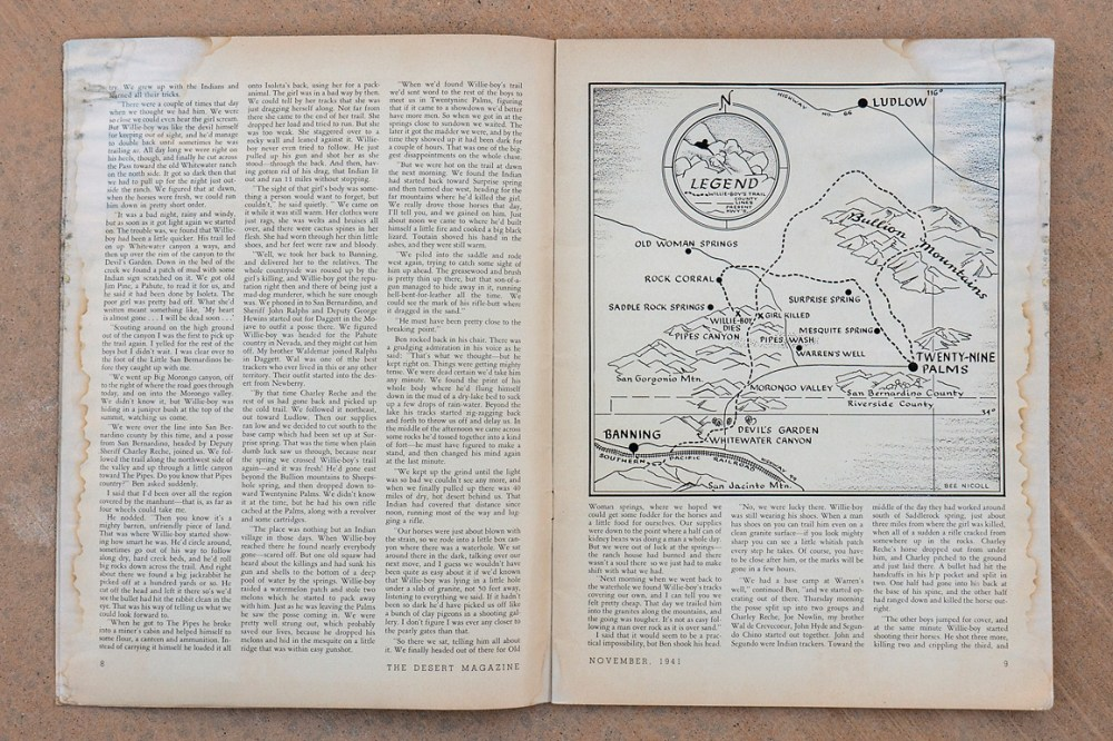 medium resolution of  an illustrated map showing willie boy s presumed route in james l carling s november 1941 desert
