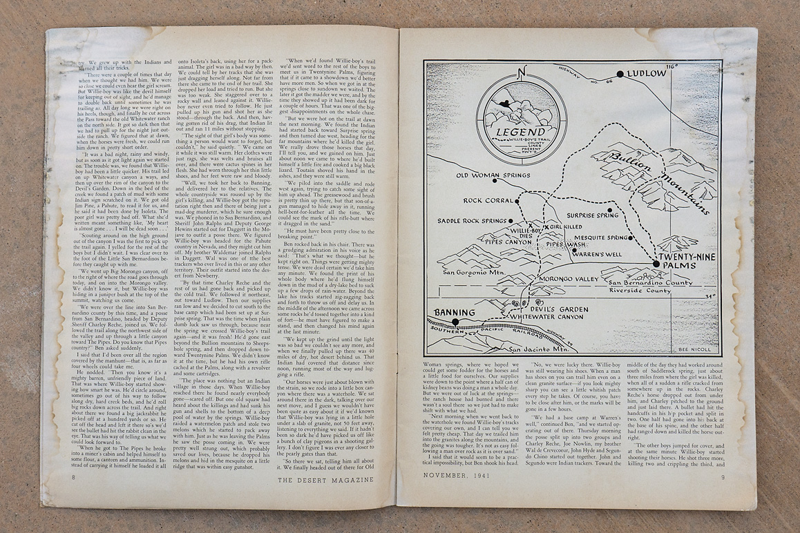 hight resolution of  an illustrated map showing willie boy s presumed route in james l carling s november 1941 desert