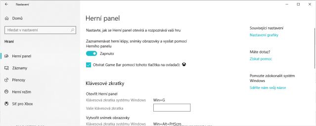 Windows Game bar - Herní panel