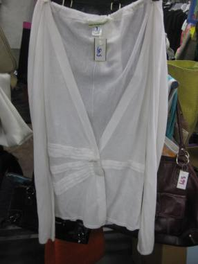 White cardigan with a cute bow button for $4