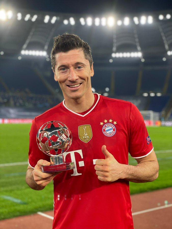 Robert Lewandowski wins Match of the match award.