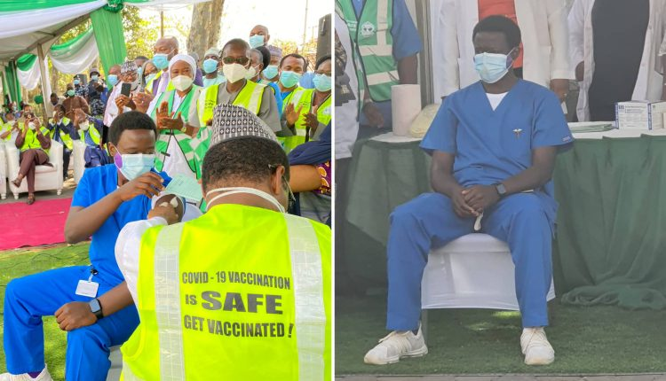 Nigeria Administers First Dose Of COVID-19 Vaccine On Frontliner Worker, Dr Cyprian Ibong