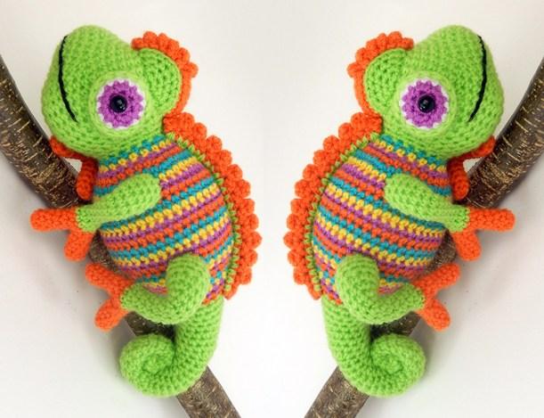 two-orange-chameleons