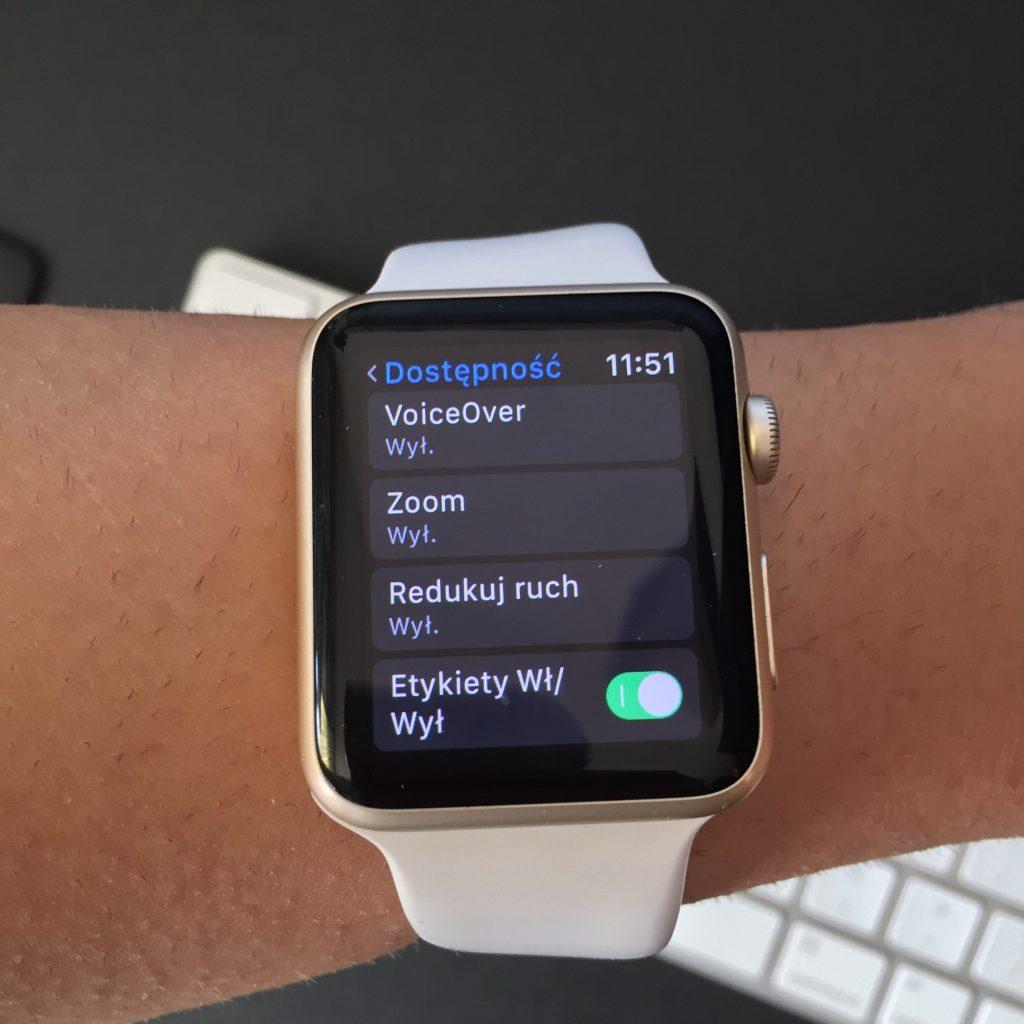 Ustawienia dostępności w watchOS