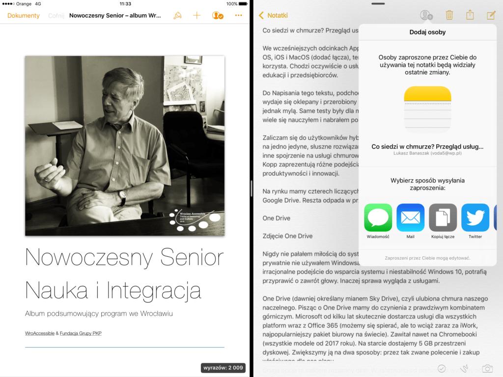 Pages i Notatki w trybie dzielenia ekranu na iOS