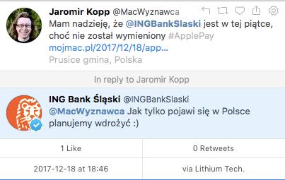 ING Bank Śląski rownieżplanuje Apple Pay