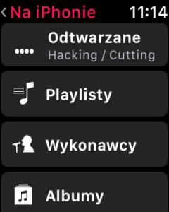 Muzyka na iPhone sterowana z zegarka