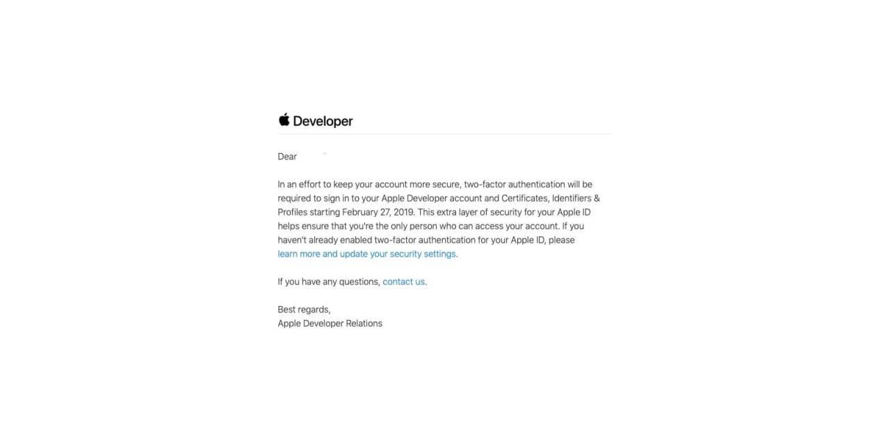 Apple wymaga uwierzytelniania dwupoziomowego od deweloperów