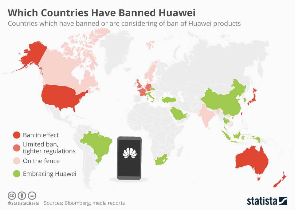 Kraje gdzie huawei jest zakazany