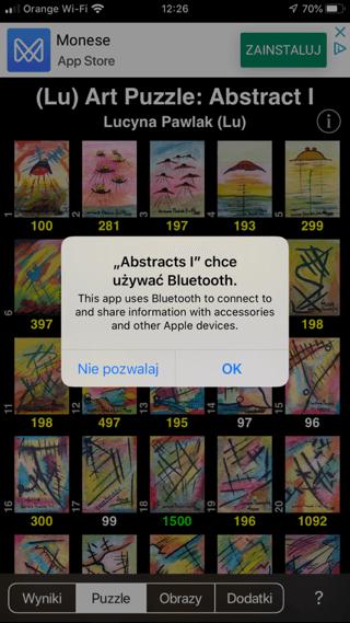 Lu Art Puzzle pytają o dostęp do Bluetooth