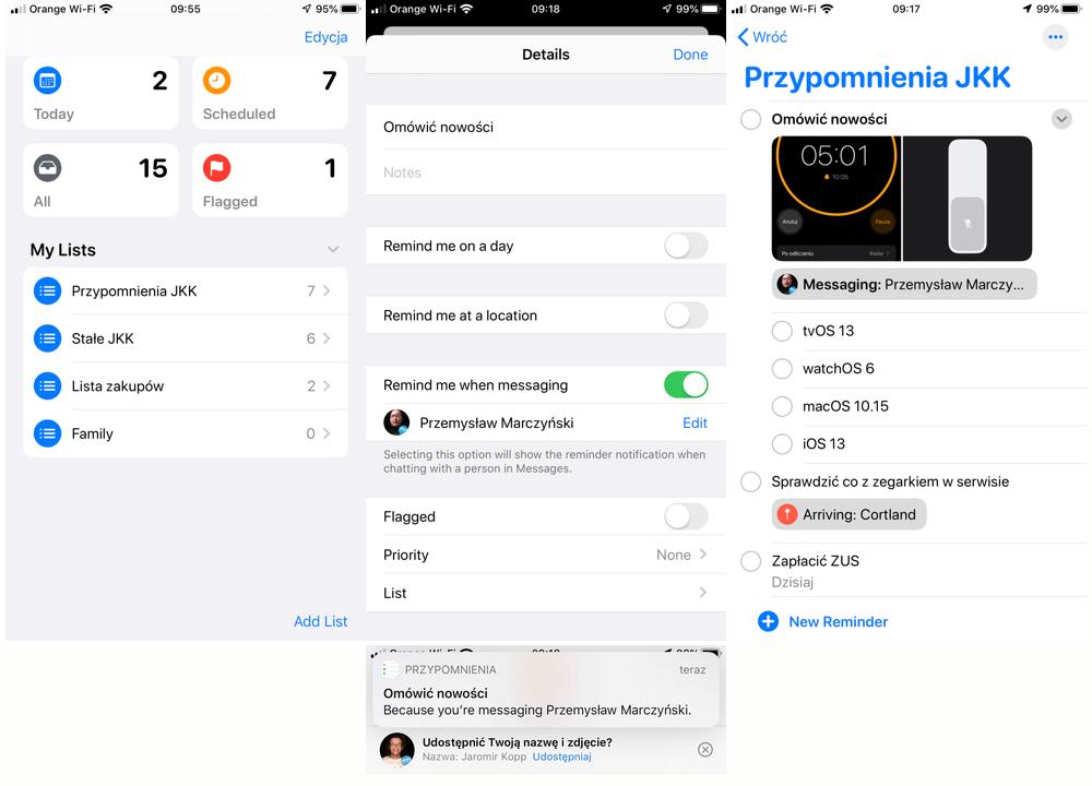Przypomnienia - what new iOS 13
