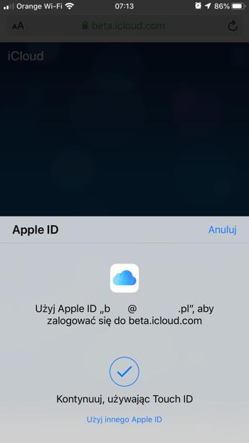 Logowanie z Apple OK