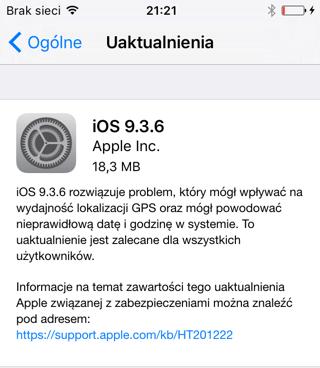 iOS 9.3.6 iPhone
