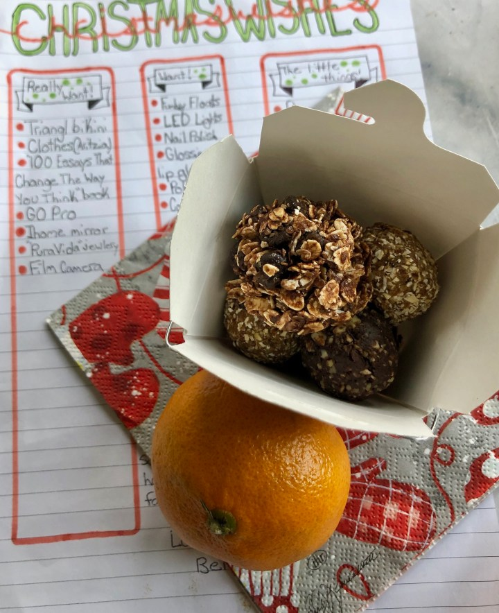 "Three Christmas ""No Bake"" Energy Bites"