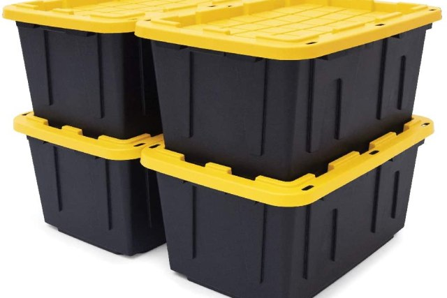 memory boxes yellow and black bins downsizing in 5 simple steps
