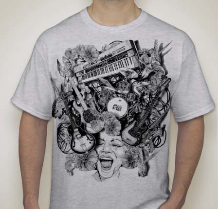 Mojo Men's Gray with Black Print Shirt