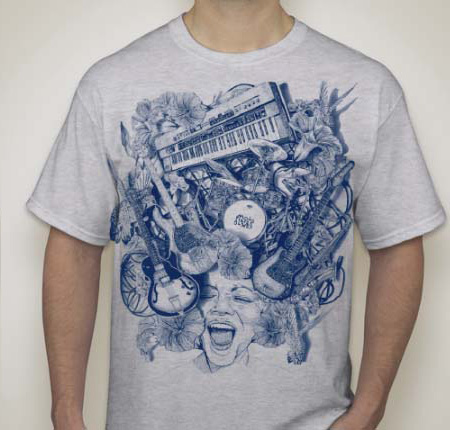 Mojo Mens t-shirt, blue print, gray shirt
